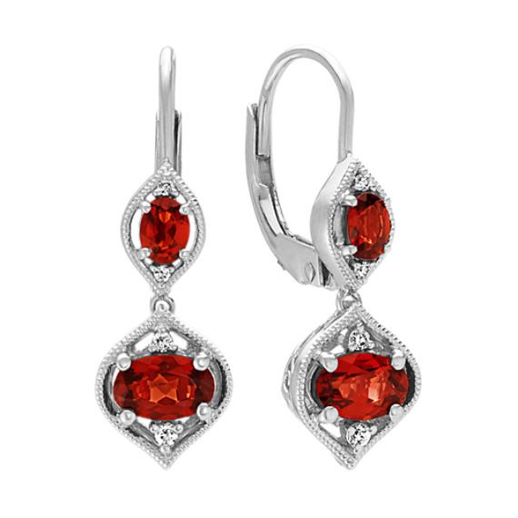 Oval Garnet and Diamond Dangle Earrings