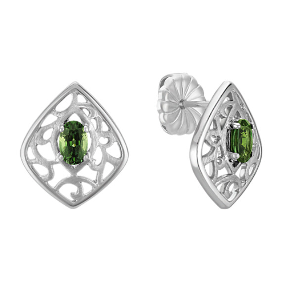 Oval Green Sapphire and Sterling Silver Earrings