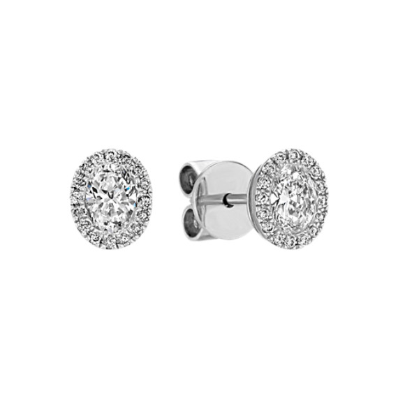 Oval Halo Diamond Earrings in 14k White Gold