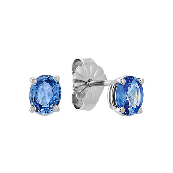 Oval Kentucky Blue Sapphire Solitaire Earrings