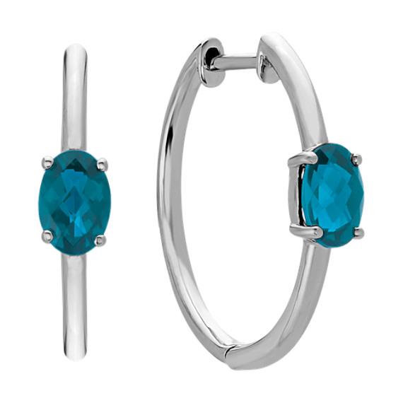 Oval London Blue Topaz Hoop Earrings