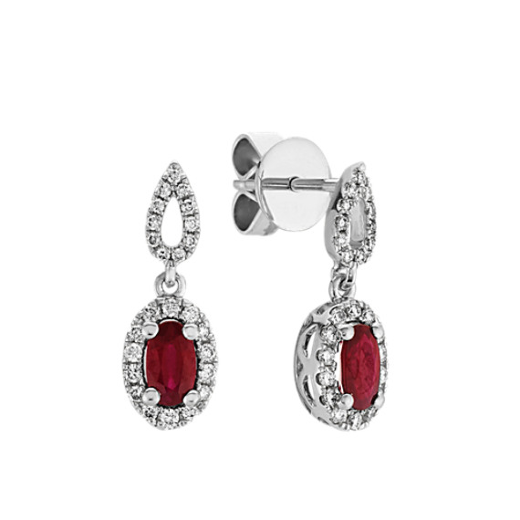 Oval Ruby and Round Diamond Dangle Earrings