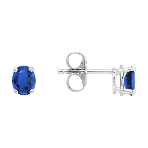 Oval Traditional Blue Sapphire Solitaire Earrings