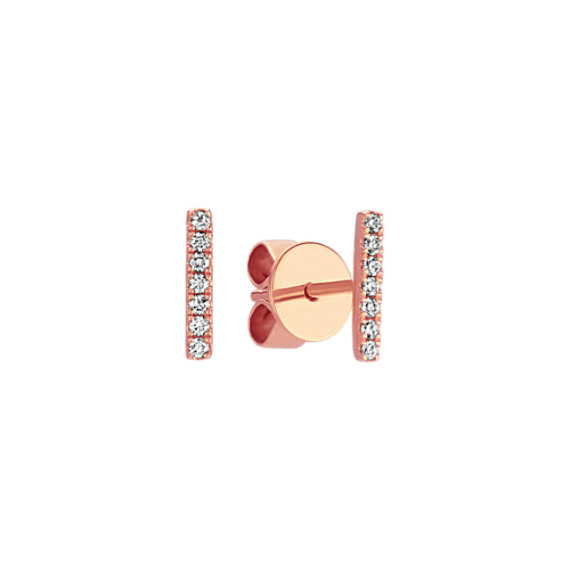 Pave-Set Round Diamond Bar Earrings in 14k Rose Gold