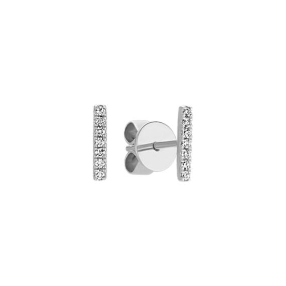 Pave-Set Round Diamond Bar Earrings in 14k White Gold