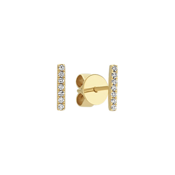 Pave-Set Round Diamond Bar Earrings in 14k Yellow Gold