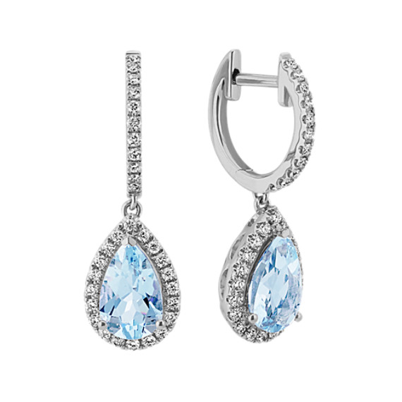 Pear-Shaped Aquamarine and Diamond Dangle Earrings