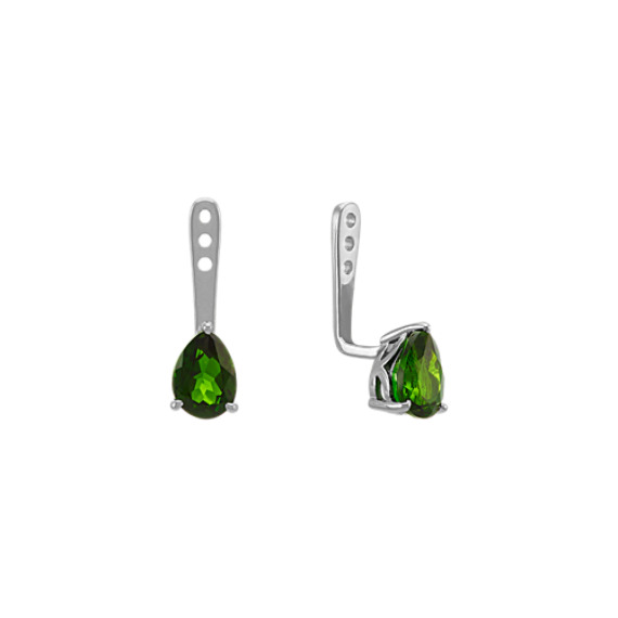 Pear-Shaped ChromeDiopside Earring Jackets in Sterling Silver