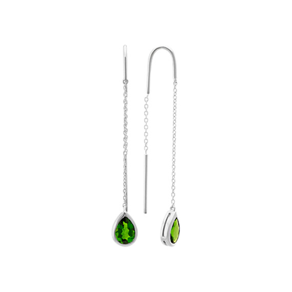 Pear-Shaped ChromeDiopside Threader Earrings in Sterling Silver