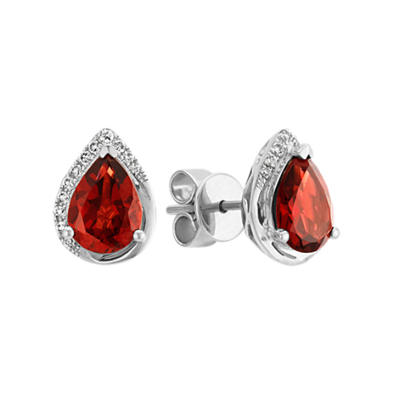 Pear-Shaped Garnet and Round Diamond Sterling Silver Earrings