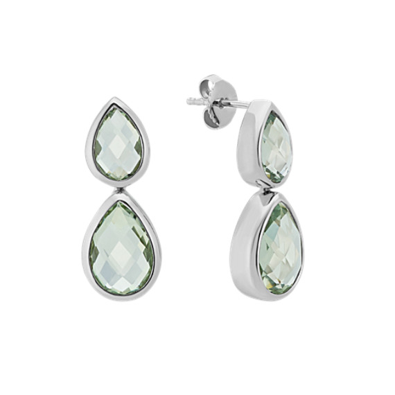 Pear-Shaped Green Quartz Dangle Earrings