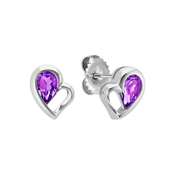 Pear-Shaped Purple Amethyst Heart Earrings
