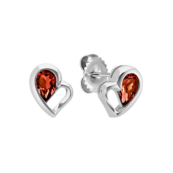 Pear-Shaped Red Garnet Heart Earrings