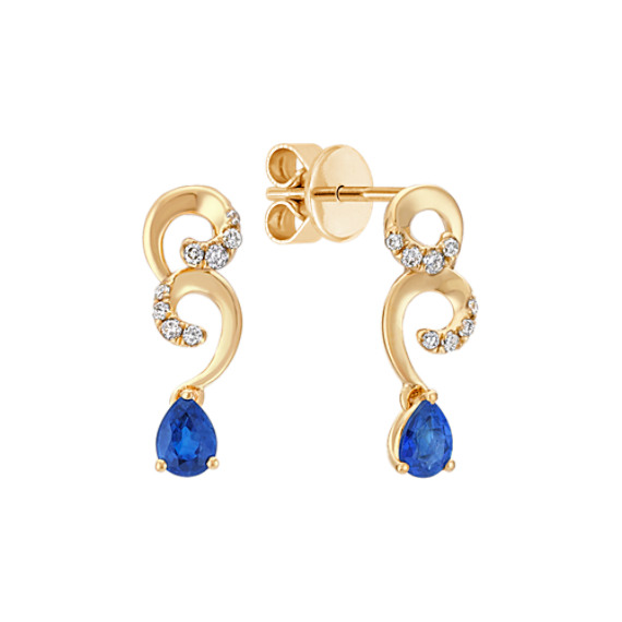 Pear-Shaped Sapphire and Round Diamond Earrings