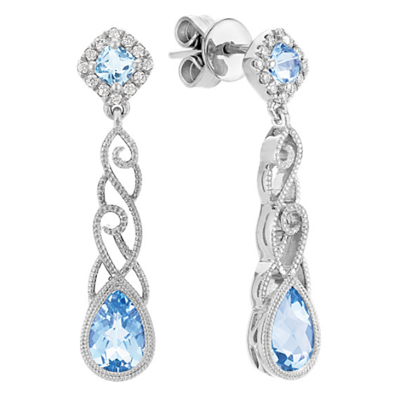 Pear-Shaped and Cushion Cut Aquamarine and Round Diamond Earrings