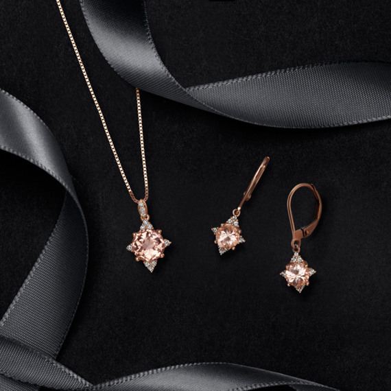 Pink Morganite and Diamond Dangle Earrings image