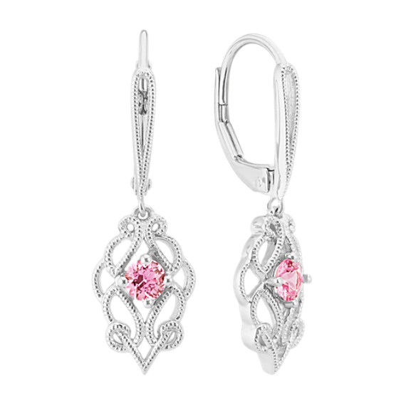 Vintage Pink Sapphire Dangle Earrings in Sterling Silver image