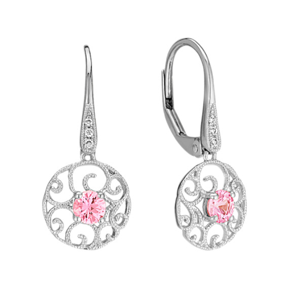 Pink Sapphire and Diamond Circle Earrings
