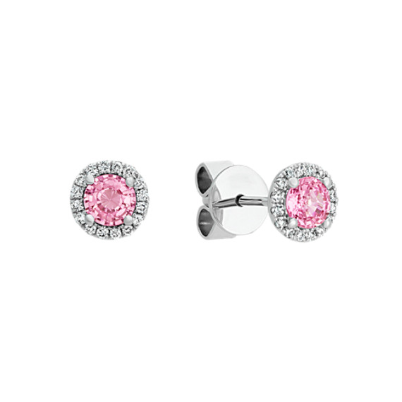 Pink Sapphire and Diamond Halo Earrings