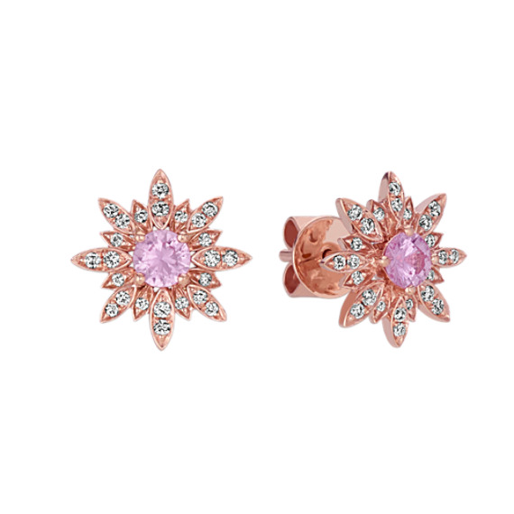 Pink Sapphire and Diamond Starburst Earrings