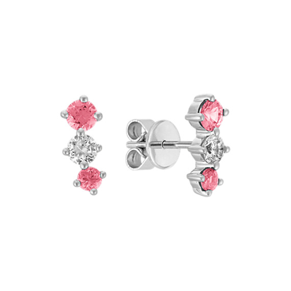 Pink and White Sapphire Earrings in 14k White Gold