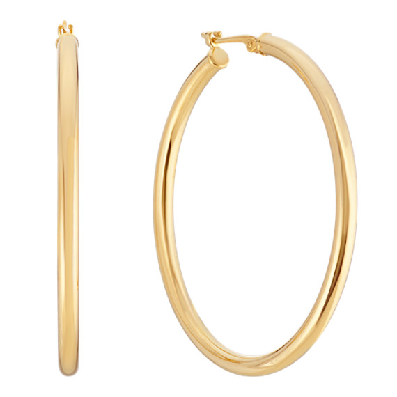 Polished Hoop Earrings in 14k Yellow Gold