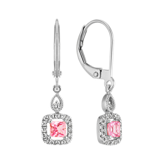 Princess Cut Pink Sapphire and Round Diamond Leverback Earrings