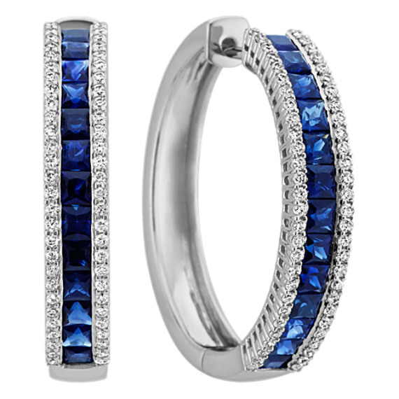 Princess Cut Sapphire and Round Diamond Hoop Earrings