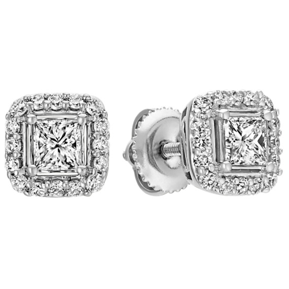 Princess Cut and Round Diamond Halo Stud Earrings