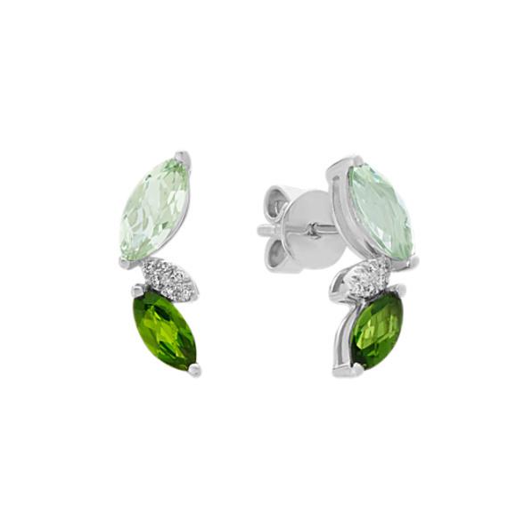 Quartz, Chrome Diopside and Diamond Earrings