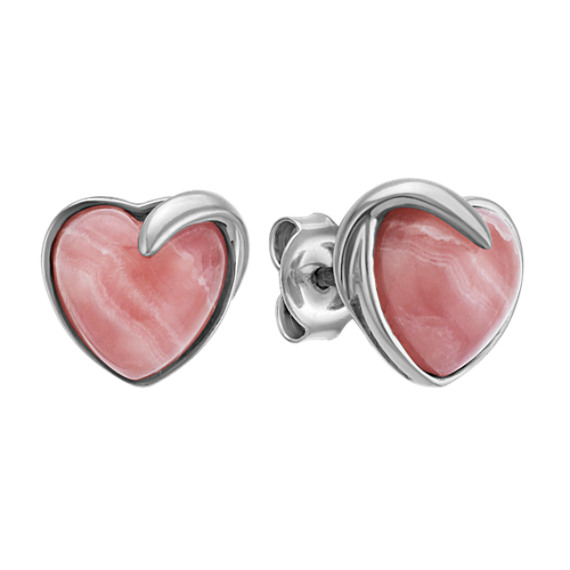 Rhodochrosite Heart Earrings in Sterling Silver
