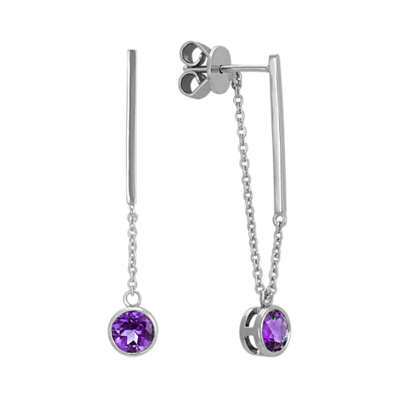 Round Amethyst Bar and Chain Dangle Earrings