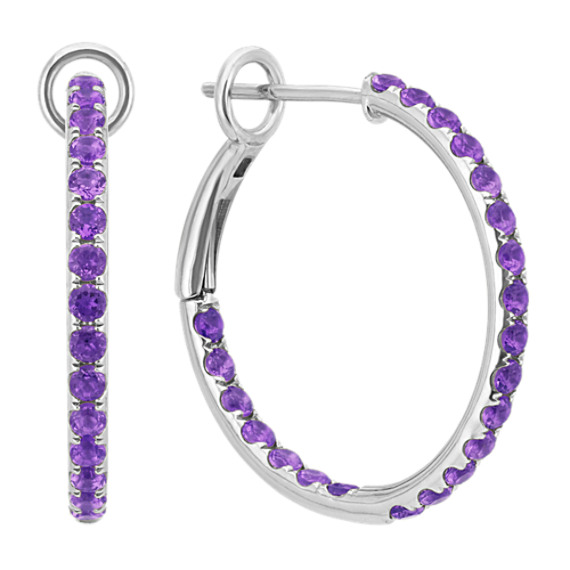 Round Amethyst Hoop Earrings in Sterling Silver