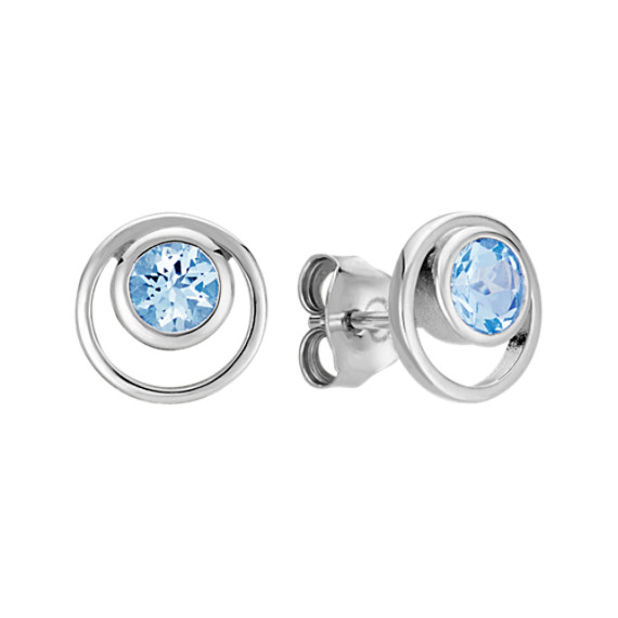 Round Aquamarine Bezel-Set Earrings