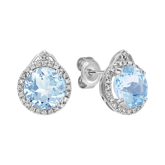 Round Aquamarine and Diamond Halo Earrings in Sterling Silver