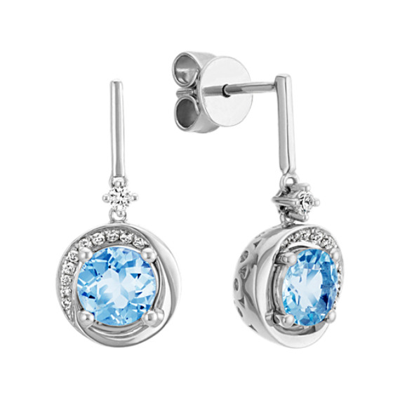 Round Aquamarine and Diamond Sterling Silver Dangle Earrings