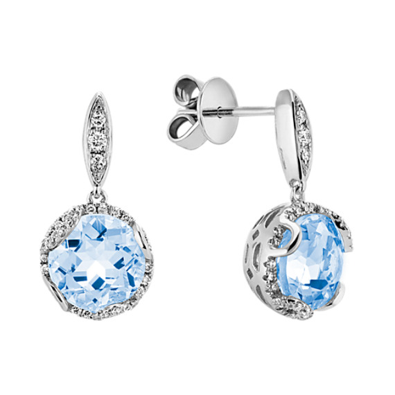 Round Aquamarine and Round Diamond Dangle Earrings