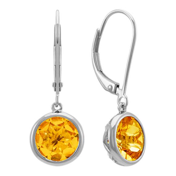 Round Bezel-Set Citrine Dangle Earrings in Sterling Silver