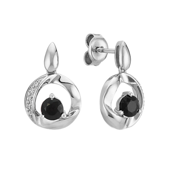 Round Black Sapphire Circle Earrings with Diamond Accent