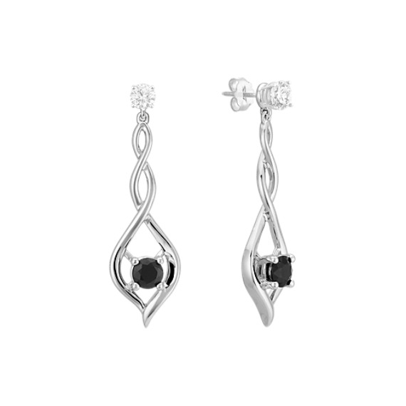 Round Black Sapphire Dangle Earring Jackets