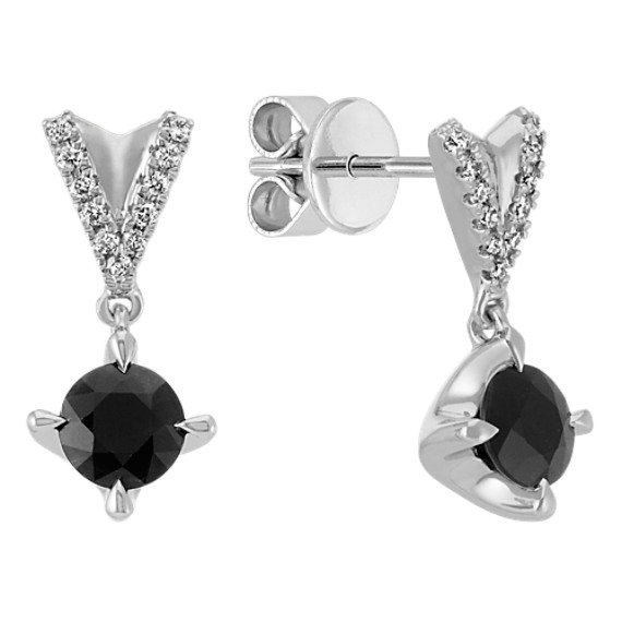 Round Black Sapphire and Round Diamond Dangle Earrings