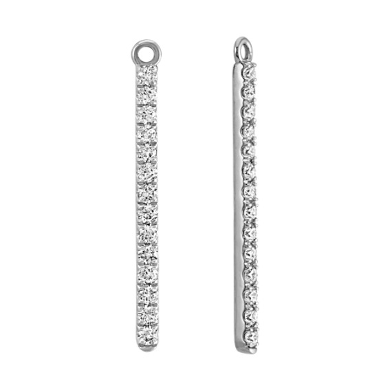 Round Diamond Bar Earring Jackets in 14k White Gold