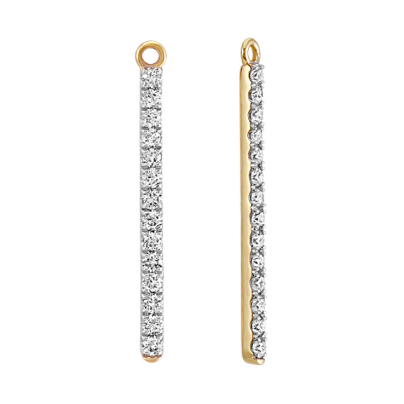 Round Diamond Bar Earring Jackets in 14k Yellow Gold