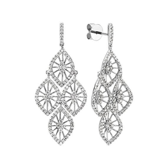 Round Diamond Chandelier Dangle Earrings