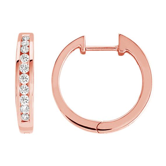 Round Diamond Channel-Set Earrings in 14k Rose Gold