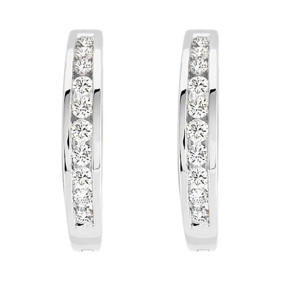 Round Diamond Channel Set Earrings In 14k White Gold