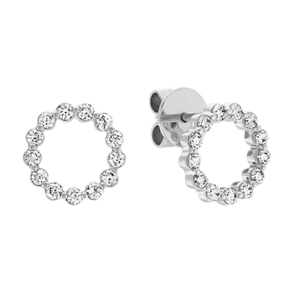 Round Diamond Circle Earrings in 14k White Gold