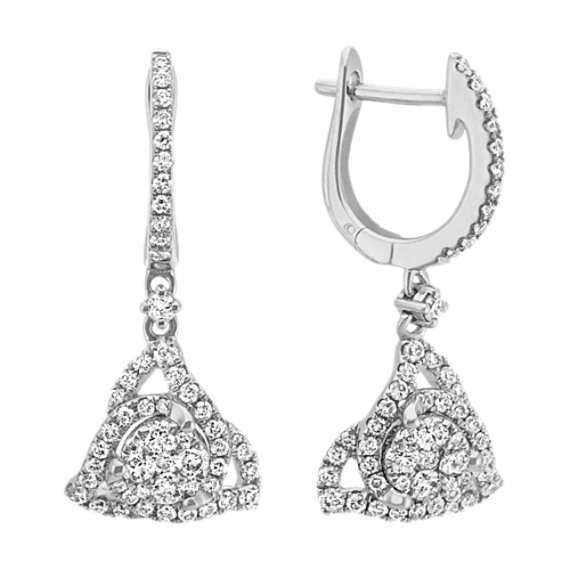 Round Diamond Cluster Dangle Earrings in 14k White Gold
