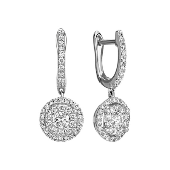 Round Diamond Cluster Dangle Earrings