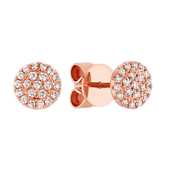 Round Diamond Cluster Earrings in 14k Rose Gold